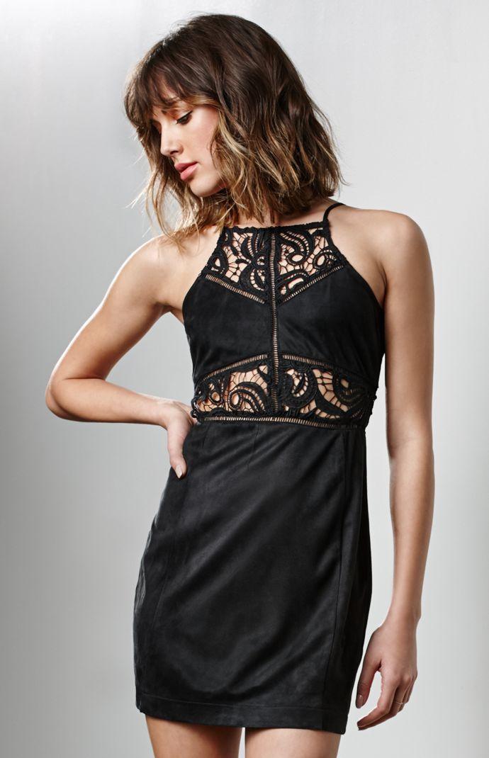 Lace Inset Goddess Neck Dress