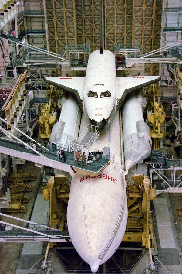 The Russian Space Shuttle in the Hanger.