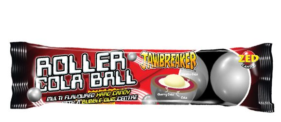 These Roller Cola Balls are a great sweet for teenagers and adults.  They are small gobstoppers with a bubblegum centre and a great cola flavour.  Each pack contains 4 jawbreakers.
