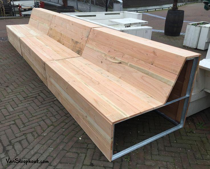 Loungebanken gemaakt van douglas hout voor perfect for Hout voor traptreden