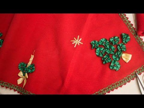 Camino de mesa navideño bordado en cintas / christmas table tape embroidered on ribbon - YouTube