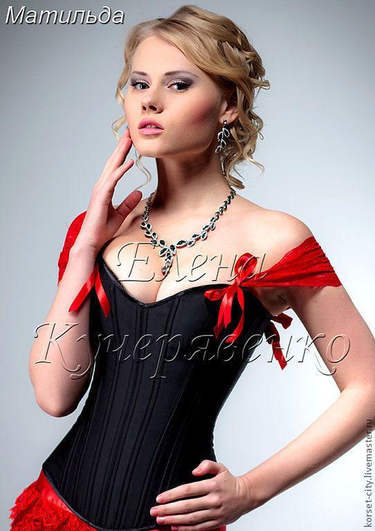 """Купить Утягивающий черный корсет """"Матильда"""" красное кружево - корсет, корсет на заказ, юбка из атласа"""