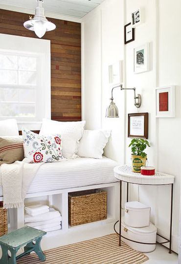 Nook with storageGuest Room, Ideas, Cozy Nooks, Windows Seats, Reading Nooks, Bedrooms, Small Spaces, Reading Room, Wood Wall