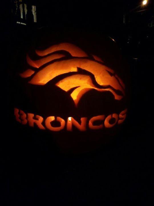 Denver Broncos carved pumpkin