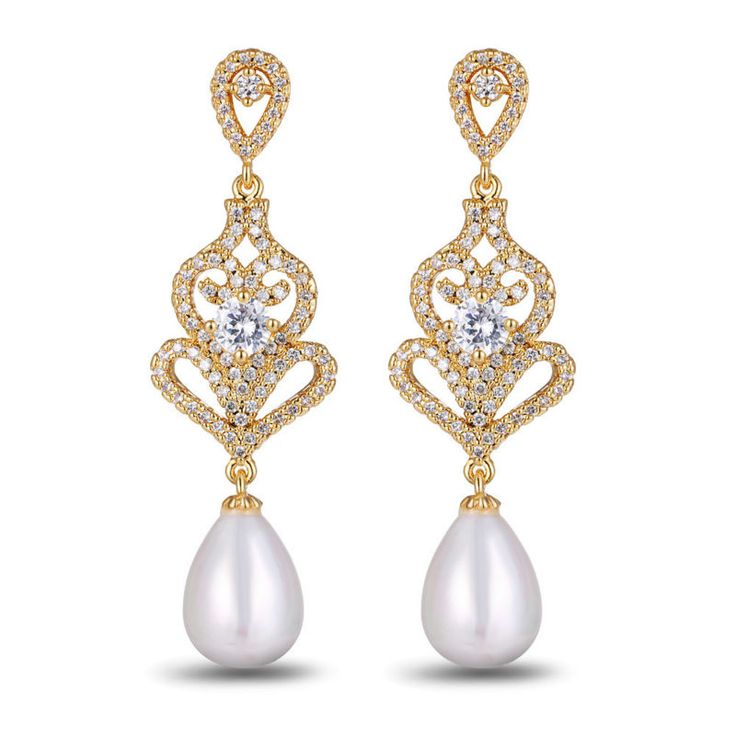 Danki Brand Featured Jewelry Simulated Pearl Earrings Gold Plated Accessory Gorgeous Bridal Wedding Party Earrings Dangle