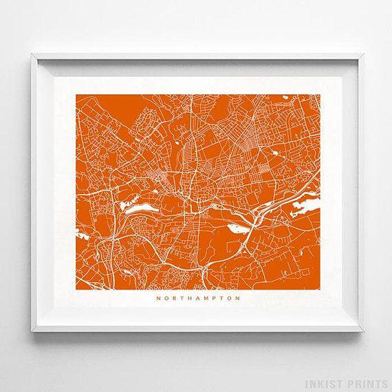 Northampton Print England Print Northampton Poster England Etsy Wall Art Prints Street Map Map Wall Art