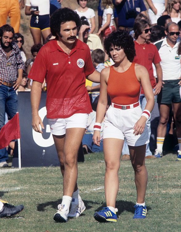 Gabe Kaplan (Welcome Back, Kotter) and Joyce Dewitt (Three's Company) in the 1978 Battle of the Network Stars.