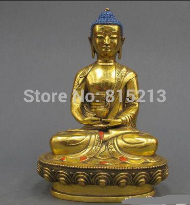 Bi00947 12 Тибет Буддийский Храм Изысканный Бронзовый Gild Шакьямуни Амитаюс статуя Будды