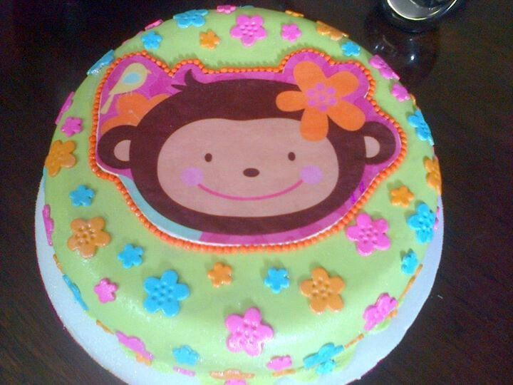 Monkey love cake monkey ideas first for Monkey birthday cake template