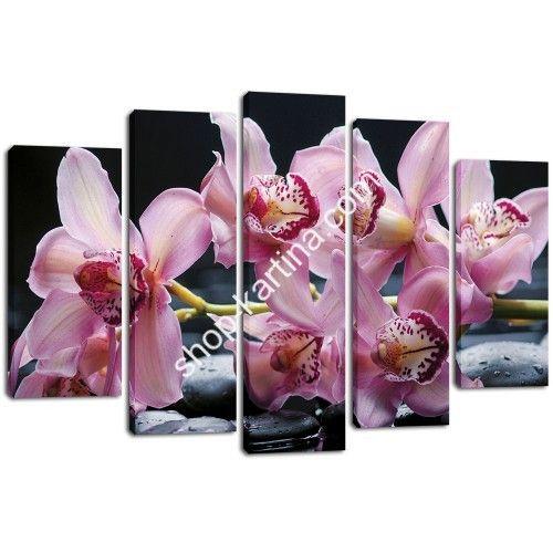 """модульная картина на холсте из 5-и частей """" Розовые орхидеи на камнях """""""