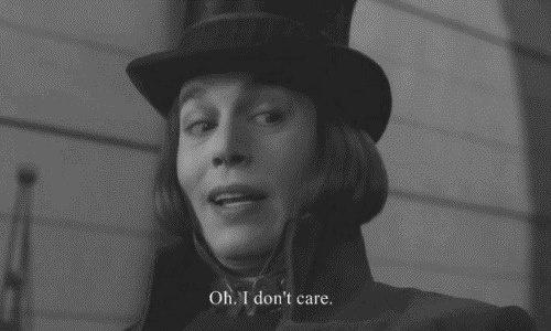 "La fabbrica di cioccolato (Charlie and the Chocolate Factory) - [Tim Burton, 2005] - Johnny Depp: ""Oh, I don't care"""