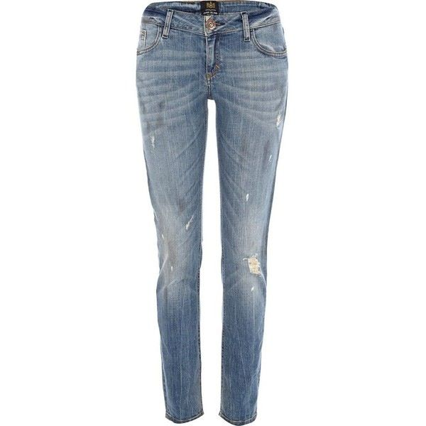 Light wash denim Matilda low rise skinny jeans with zip fly and button  fastening
