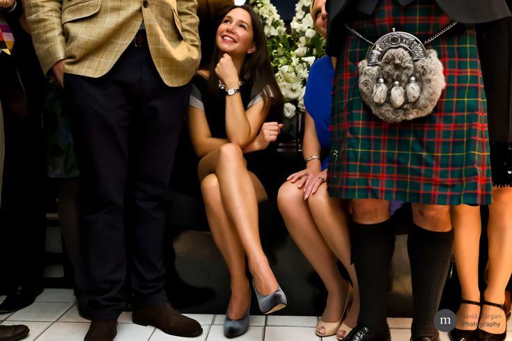 wedding guests at blake's hotel in london. tartan kilts.