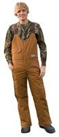 Brown Duck Insulated Bib Overall from Pella Rugged Outdoor Clothing   Made in the USA