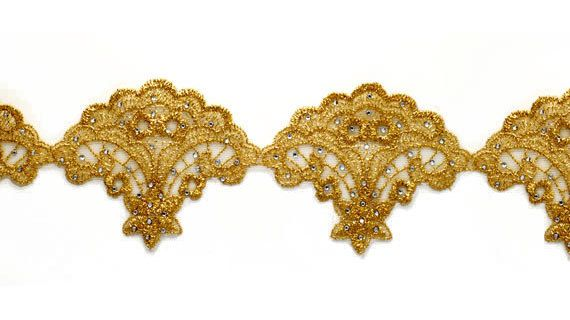 Metallic Gold Lace Trim with Crystal Rhinestone Crafts and