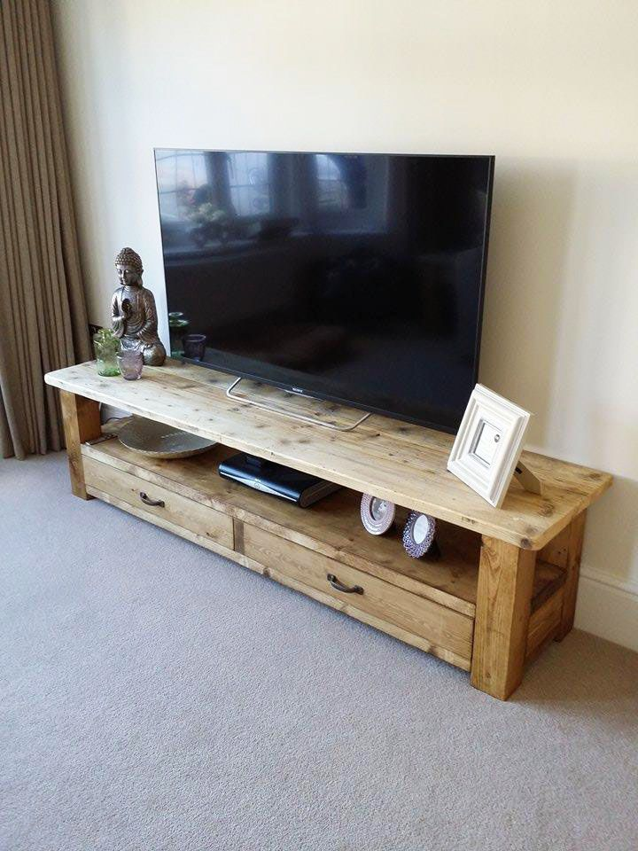 Handmade Bespoke Natural Wooden Tv Unit With Drawers