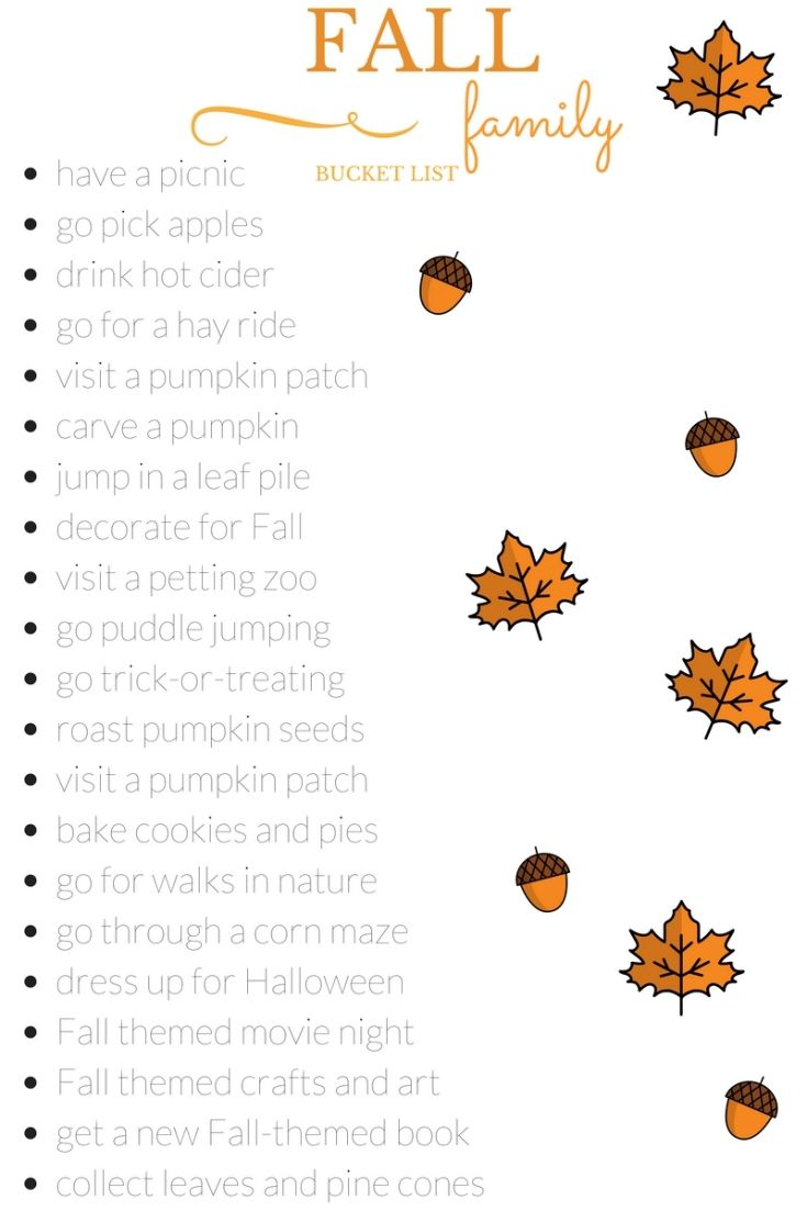 Fall family bucket list for this autumn season. Print it out, and don't miss a thing!