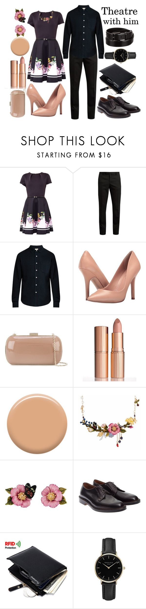 """Theatre"" by kacenka-1 ❤ liked on Polyvore featuring Ted Baker, Yves Saint Laurent, Simon Miller, Charles by Charles David, Sergio Rossi, Charlotte Tilbury, Lauren B. Beauty, Les Néréides, Alden and ROSEFIELD"