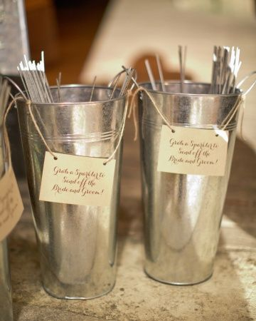 Sparklers for the sendoff (in adorable buckets with calligraphed signs!)