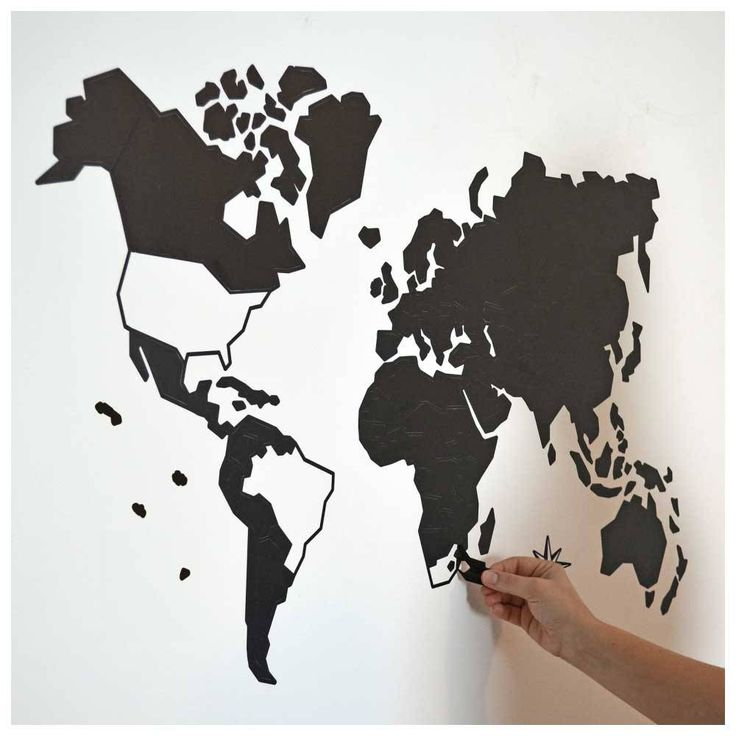 Adesivo de Parede Mapa-Múndi (Preto) com Países Destacáveis G (150x90cm)