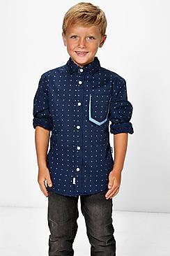 Boys Long Sleeve Collared Shirt