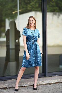 Velvety Dress Velvet Dress Aquamarine Dress Dress For Work
