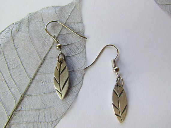 Silver leaf earrings with carved oxidised vein detail