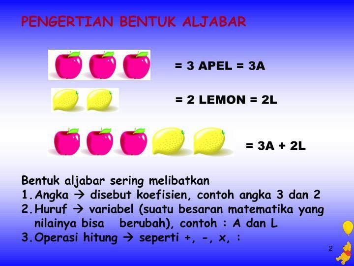 Aljabar Huruf Matematika Apel
