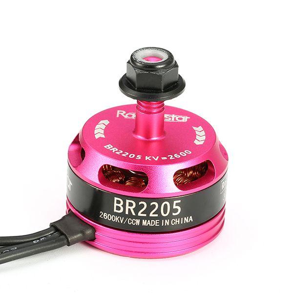 Racerstar édition de course 2205 br2205 de 2600kv 2-4s moteur brushless cw / ccw rose pour QAV250 ZMR250 260