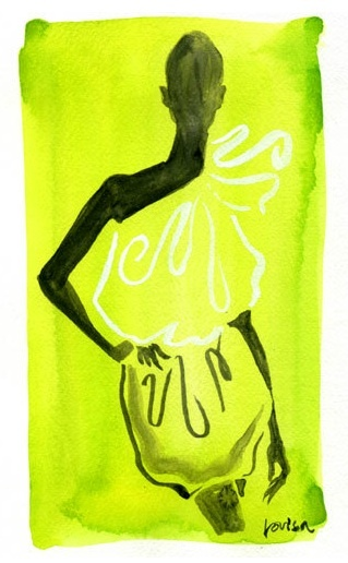 Lanvin Chartreuse - Lovisa Olive Fashion Illustrations