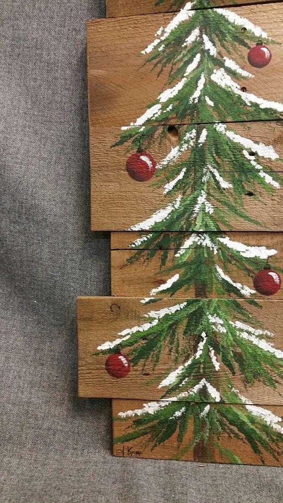 Kerst naaldboom Reclaimed Hout Pallet kunst, wintersneeuw, Kerstmis Hand geschilderd, upcycled, kunst aan de muur, verdrietig Origineel Acryl schilderij op geregenereerde Pallet boards. Dit unieke stuk is 36 x apprx. 12 Deze sneeuw bedekte boom met rode bollen kan worden gebruikt voor een gepersonaliseerde rustieke aanraking aan uw kerst versieren. Perfect voor die mager muur ruimte of gewoon het leunen tegen de muur. Al mijn creaties zijn gemaakt van geregenereerde boards. Ze worden met…