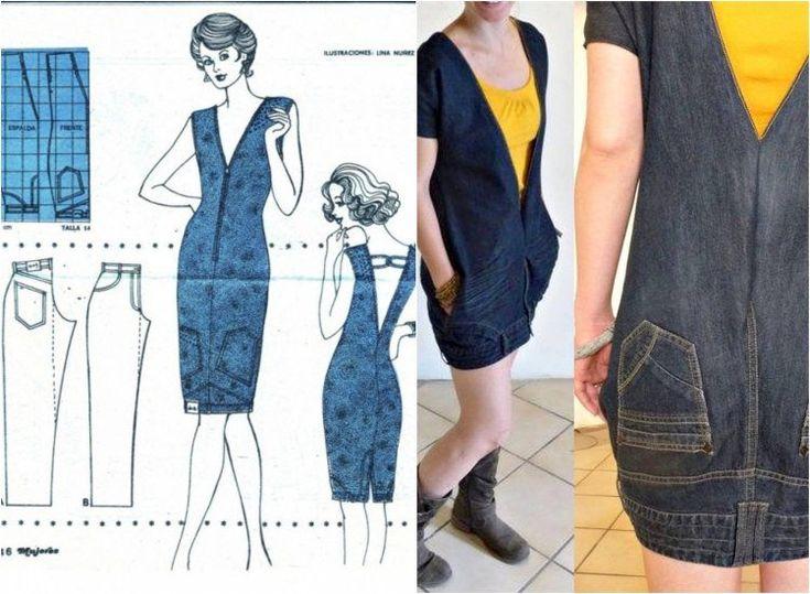 robe en jeans recyclé DIY avec une esquisse