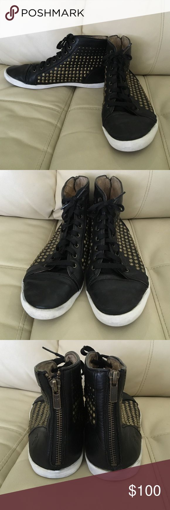 Frye Kira studded sneakers Frye Kira studded sneakers worn but lots of life left. Size 8 fit true to size. Frye Shoes Sneakers