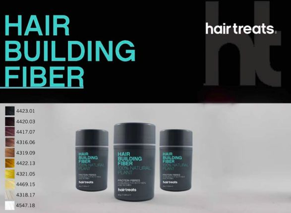 HAIR BUILDING FIBER  HairTreats' Hair Building Fiber's mission is to provide men and women with fuller, thicker, natural-looking hair. The solution is made of natural plant protein which causes fibers to blend with existing hair, making it appear fuller until your next shampoo. Hair Building Fibers are for every hair type and come in 10 natural hair colors and can be blended to create an identical match.   COMING SOON Shop Hair Treats @ http://www.beautyroute.com