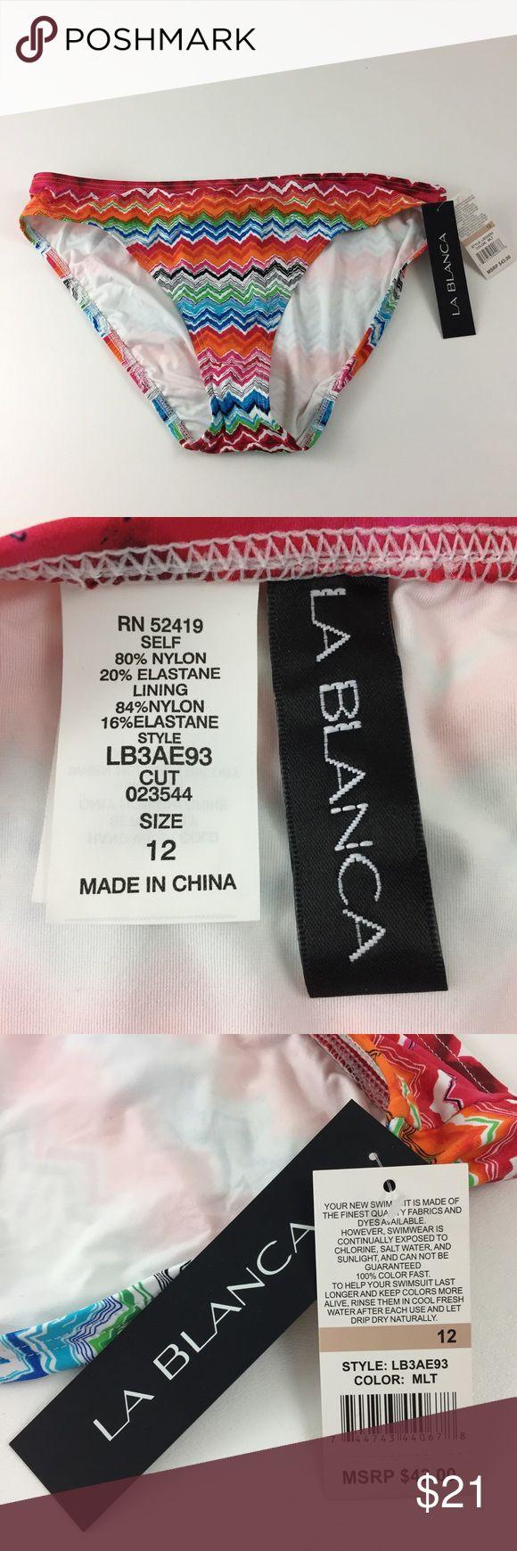 La Blanca Multicolored Chevron Bikini Bottoms. B2 New! La Blanca Swim Bikinis