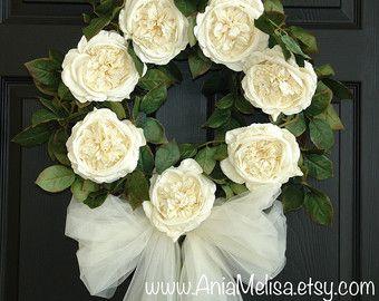 corone per la porta d'ingresso corone all'aperto e giardino Decorazioni bianco avorio rose corone di nozze paese francese matrimoni