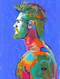 "Emerald Storm by RD Riccoboni. Original painting beefcake of a sexy bearded and hairy chested man. Colorful art portrait painted in blues, greens golds and bursts of orange and magentas, Muscle Bear picture.  8"" x 10"" inches acrylic and ink, mixed media, on paper original painting on paper. Comes frame ready in off white mat, which will fit in an 11 x 14 inch frame.  Why buy a print when you can have an original?   Where do you see this painting hanging in your home?  Looking for a print or…"