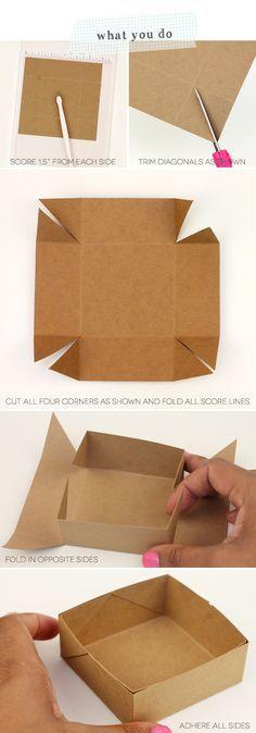 A caixinha mais simples do mundo! Faça com papel de scrapbook colorido e pronto!