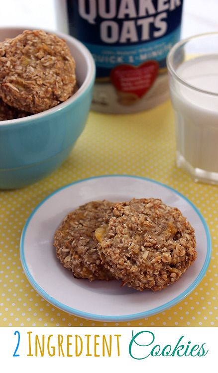2 Ingredient Oatmeal Banana Cookie RecipeIngredients:1 Cup Quick Oats2 Over Ripe BananasInstructions:Preheat oven to 350.Spray Cookie Sheet with non-cook spray.Add both ingredients to a medium sized bowl.Mash and Mix together until well blendedFeel free to toss in nuts, chocolate chips, cinnamon.Place 1 inch spoons of mixture on to prepared pan.Slightly press down on Cookie.Bake for 15-25 minutes (oven times will vary).Source: ...