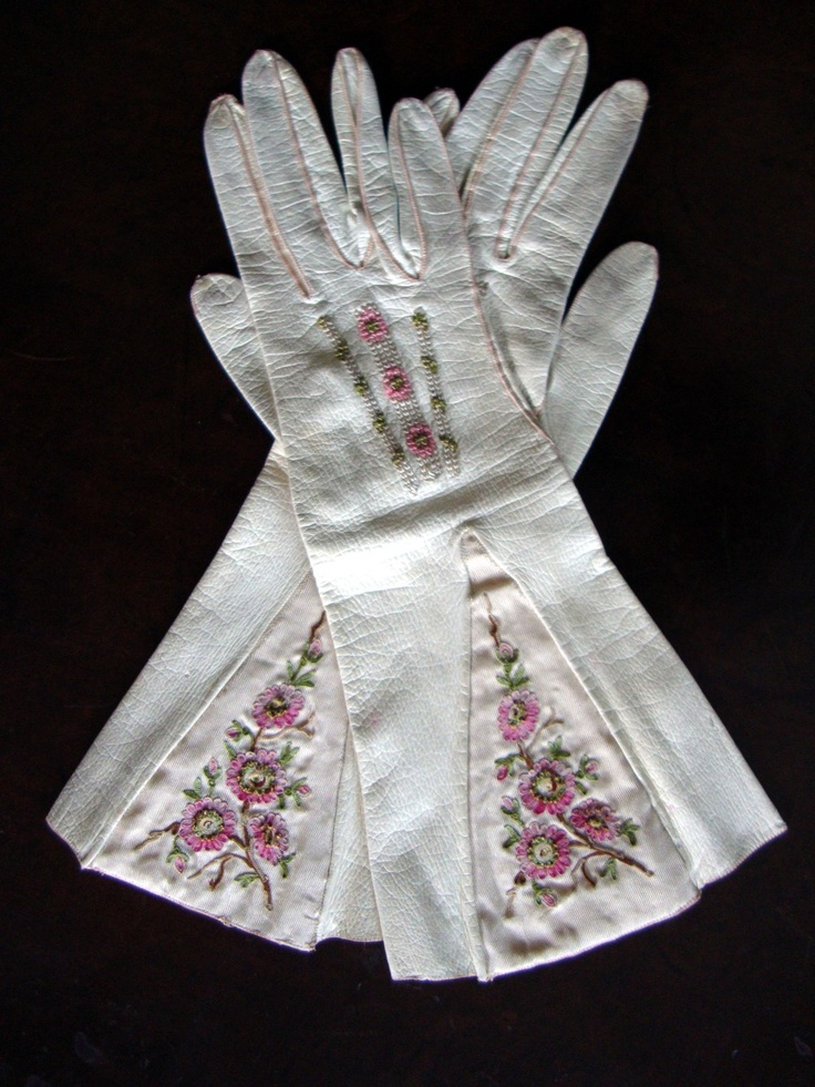 Circa 1840 Parisian Milky White Kidskin Gauntlet Gloves with Silk Embroidered Pink Floral Embellishments.