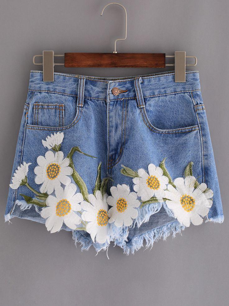 Frayed+Embroidered+Flower+Applique+Blue+Denim+Shorts+18.99