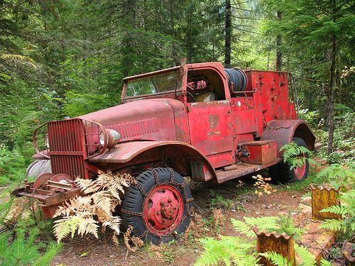 notice the tire chains still on this old fire truck Must have been an old forestry truck for wild fires