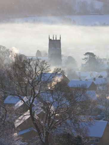 View of Wotton under Edge, Gloucestershire, Cotswolds in Winter with Snow  by Peter Adams