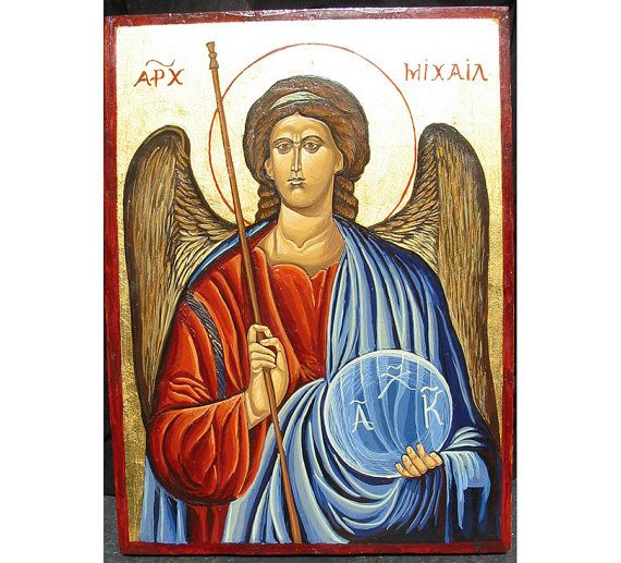 Handpainted Icon of Archangel MichaelByzantin by WoodAlive on Etsy, $130.00