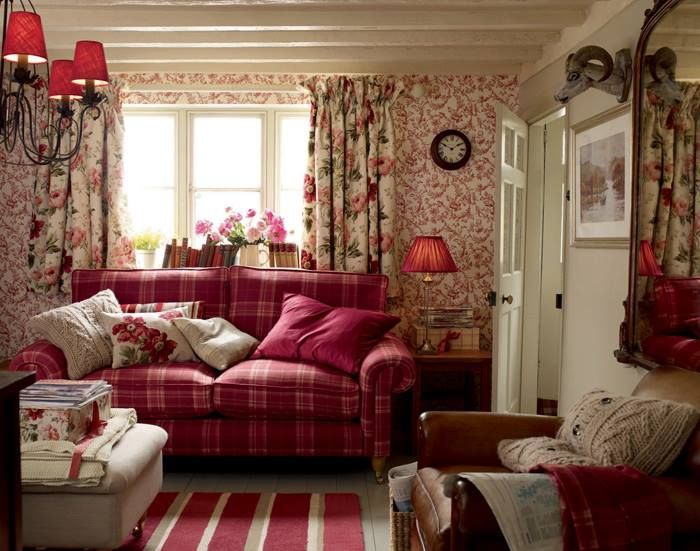 English country living room with painted beamed ceiling.