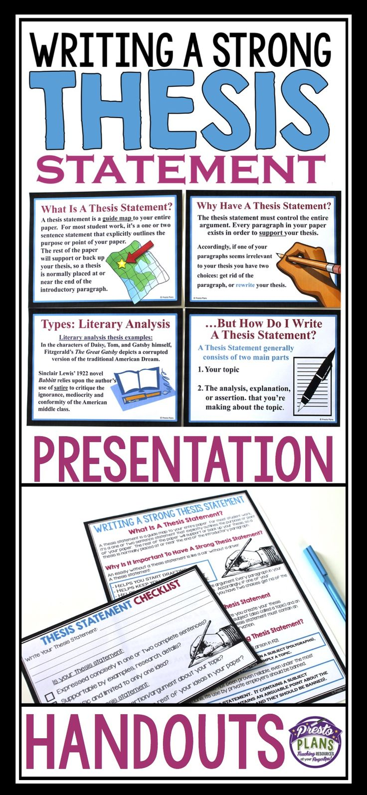 Writing a strong thesis statements is always a challenge for students. This resource will help them understand what a thesis statement is, why it is important to have one, and what a strong thesis statement looks like.