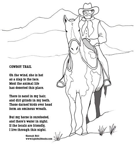Cowboy Coloring Page And Poem Yeehaw Activity Pages