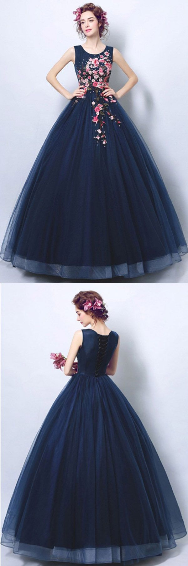 Dark navy blue ball gown formal prom dress with applique pg in