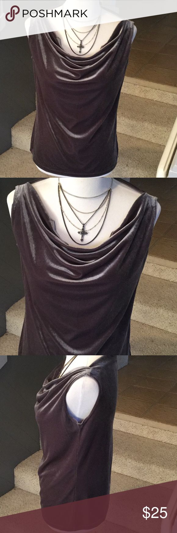 """Made in Heaven Gray Stretch Velvet Sleevless Top Made in Heaven gray or silver sleevless stretch velvet blouse top, size M, in great shape.  Approx. 22"""" long,  39"""" chest.  Happy to answer questions, thanks!❤️ Made in Heaven Tops Blouses"""