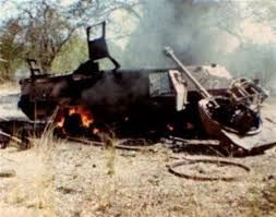 Ratel 72 , 30th July1982 Ops Meebos hit a double cheese mine